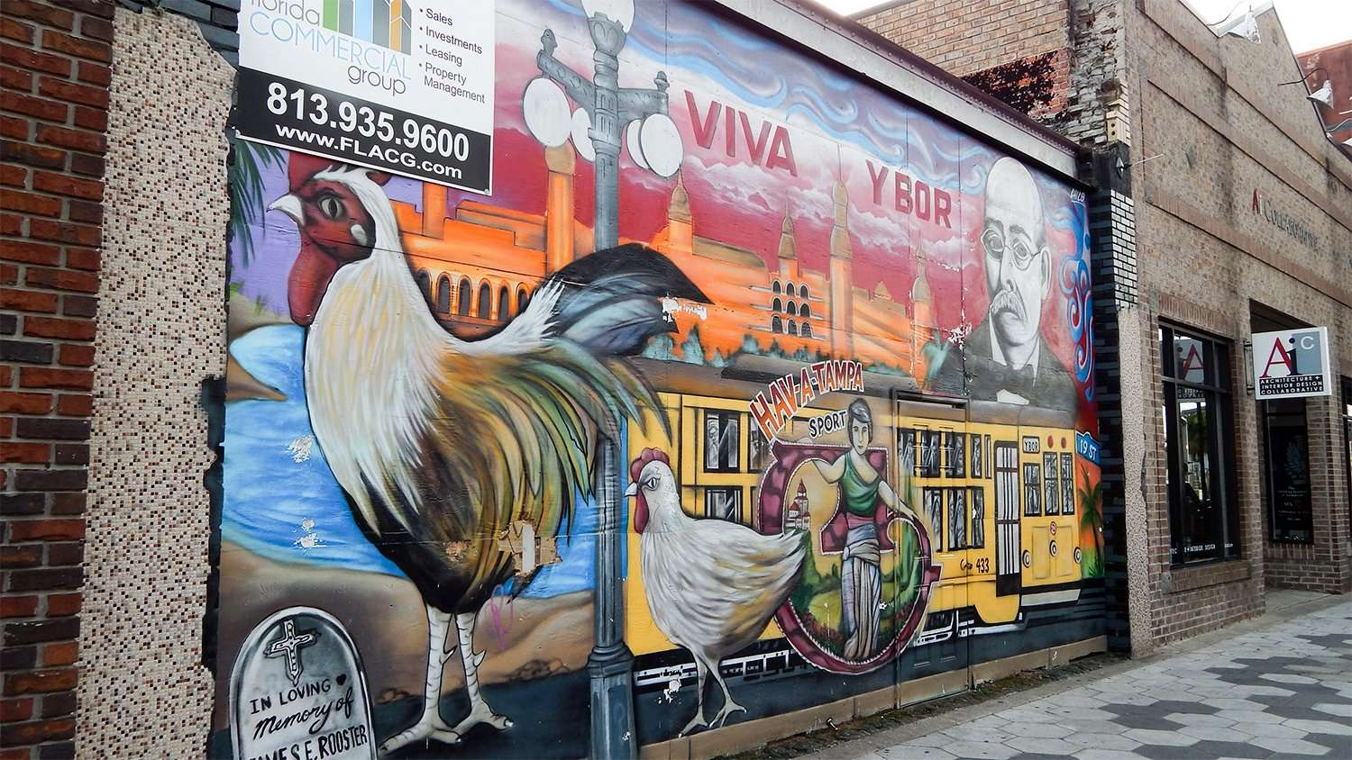 Viva ybor mural by chico garcia on historic 7th avenue for City of tampa mural