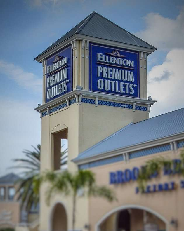 Ellenton Premium Outlets The Prime Outlet Shopping Mall is the largest outlet center in west Florida. Over factory outlets are located here, including Coach, Banana Republic, the Gap, Polo Ralph Lauren, as well as many, many others.