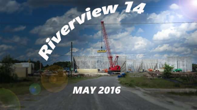 May 5, 2016 - Riverview 14 with crane erecting walls .comMay 2016/photonews