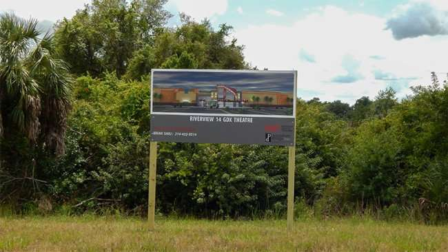 road sign of future Riverview 14 GDX Theatre on Gibsonton Drive