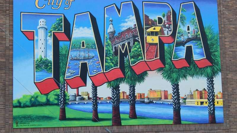 city of tampa postcard mural by carl cowden along florida