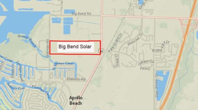 10.11.2016 - Map of the Big Bend Solar property owned by Tampa Electric TECO/photonews247.com