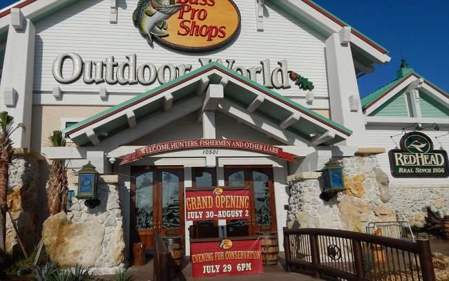 JULY 26, 2015 - Bass Pro Shops front door with opening dates in Brandon, FL/photonews247.com