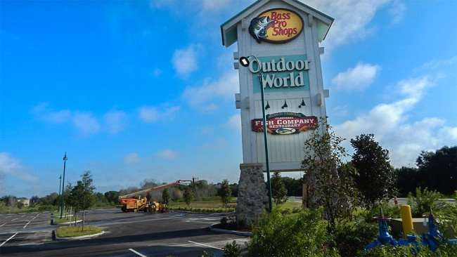 JULY 26, 2015 - Bass Pro Shops road sign finished before opening on July 29, 2015 in Brandon, FL/photonews247.com