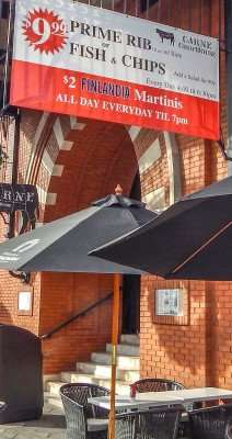 Nov 2014 - Carne ChopHouse Prime Rib Special $9.95 on podium on sidewalk 7th Ave Ybor City in Tampa/photonews247.com