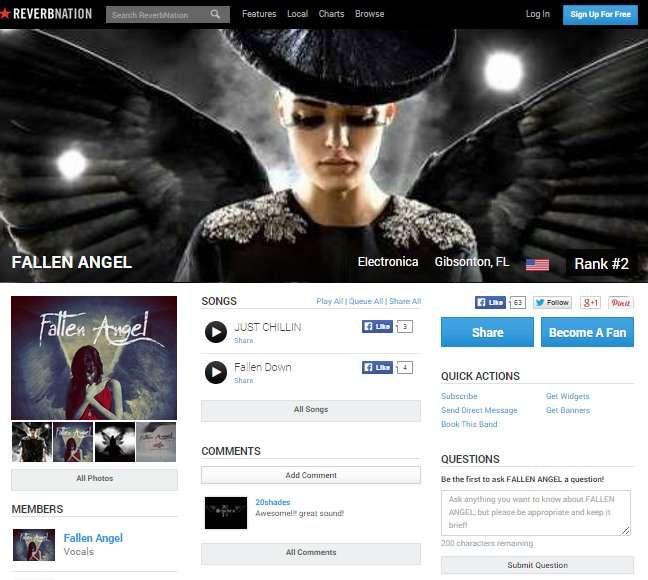 FALLEN ANGEL - Gibsonton FL band ranking 2 in Electronica category at Reverbnation