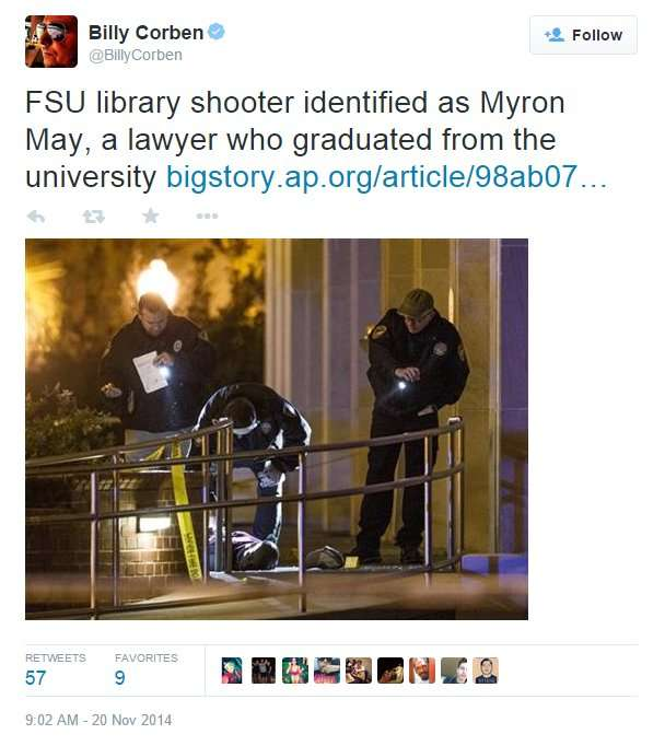FSU Shooter id as Myron May (Alum) a Lawyer that graduated from FSU Alum /twitter