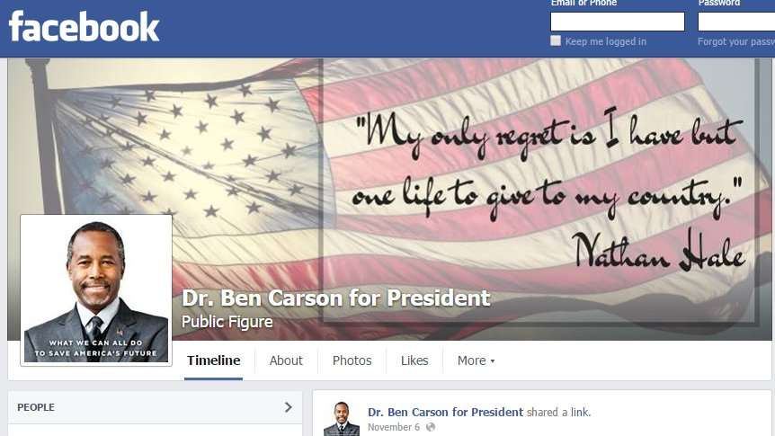 Facebook page of Dr Ben Carson for President