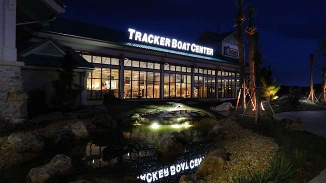 July 6, 2015 - Tracker Boat Center with waterfall at Bass Pro Shops in Brandon, Tampa, FL