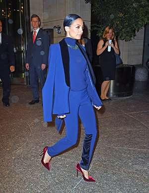 Nicole Richie wearing blue Arcadia Trouser Suit from SAFiYAA's Autumn/Winter 2014/2015 collection /safiyaa.com