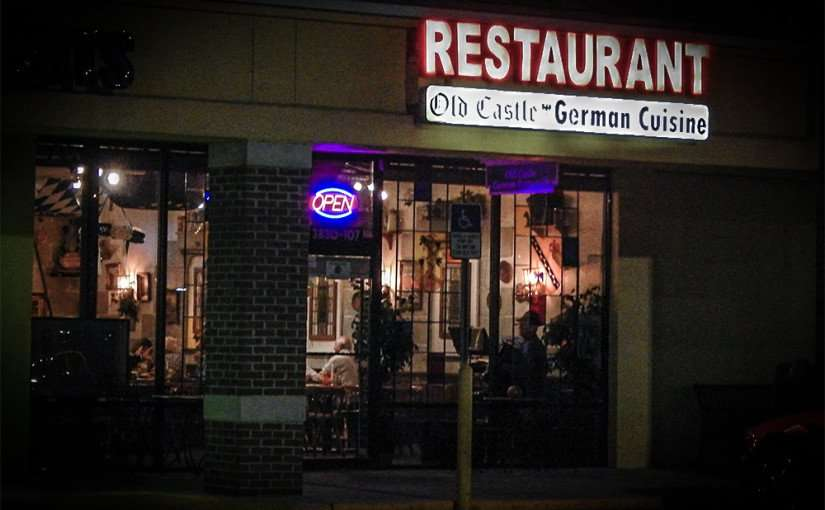 November 14, 2014 - Old Castle German Restaurant at night in Sun City Center, FL.