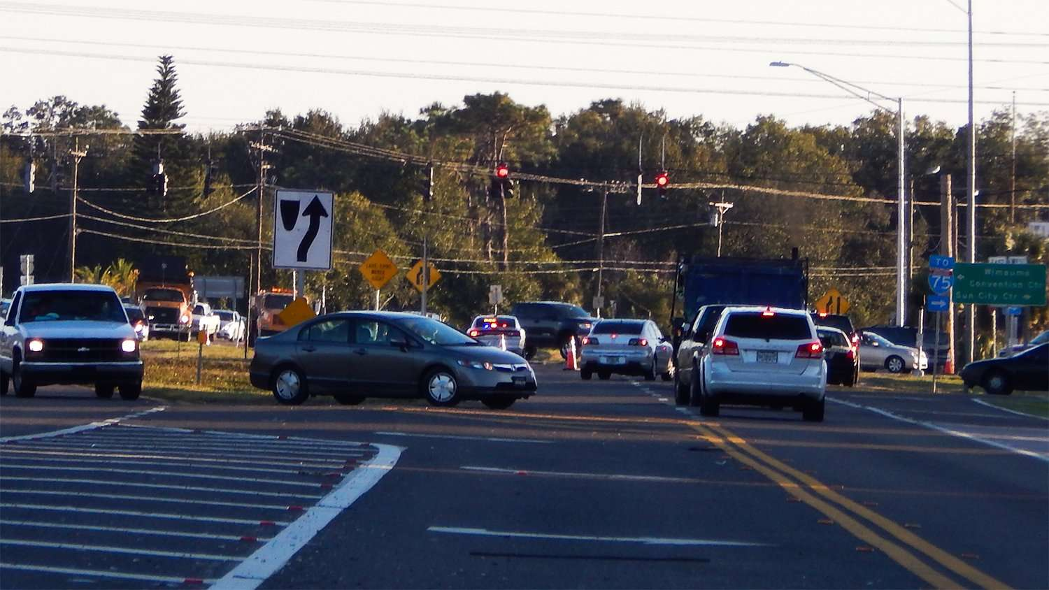 Police and emergency vehicles at intersection 674 and 301 Nov 10 2014 Wimauma FL