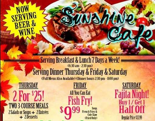 Sunshine Cafe Restaurant Specials and now serving beer and wine Sun City Center