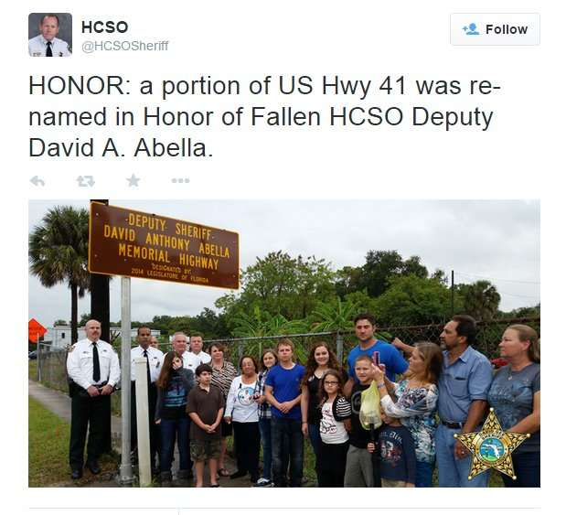 a portion of US Hwy 41 was re-named in Honor of Fallen HCSO Deputy David A Abella