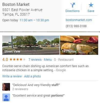 Boston Market averages 4 stars on Google reviews for their restaurant on East Fowler, Tampa, Florida/Google copyright 2014