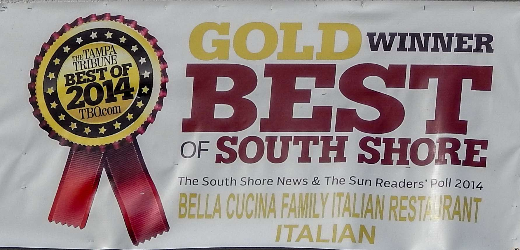 BELLA CUSINA Family Italian Restaurant Receives Tampa Tribune Best Of 2014 Gold Winne and the Best of South Shore form The South Shore News & The Sun Readers Poll 2014/photonews 247.com