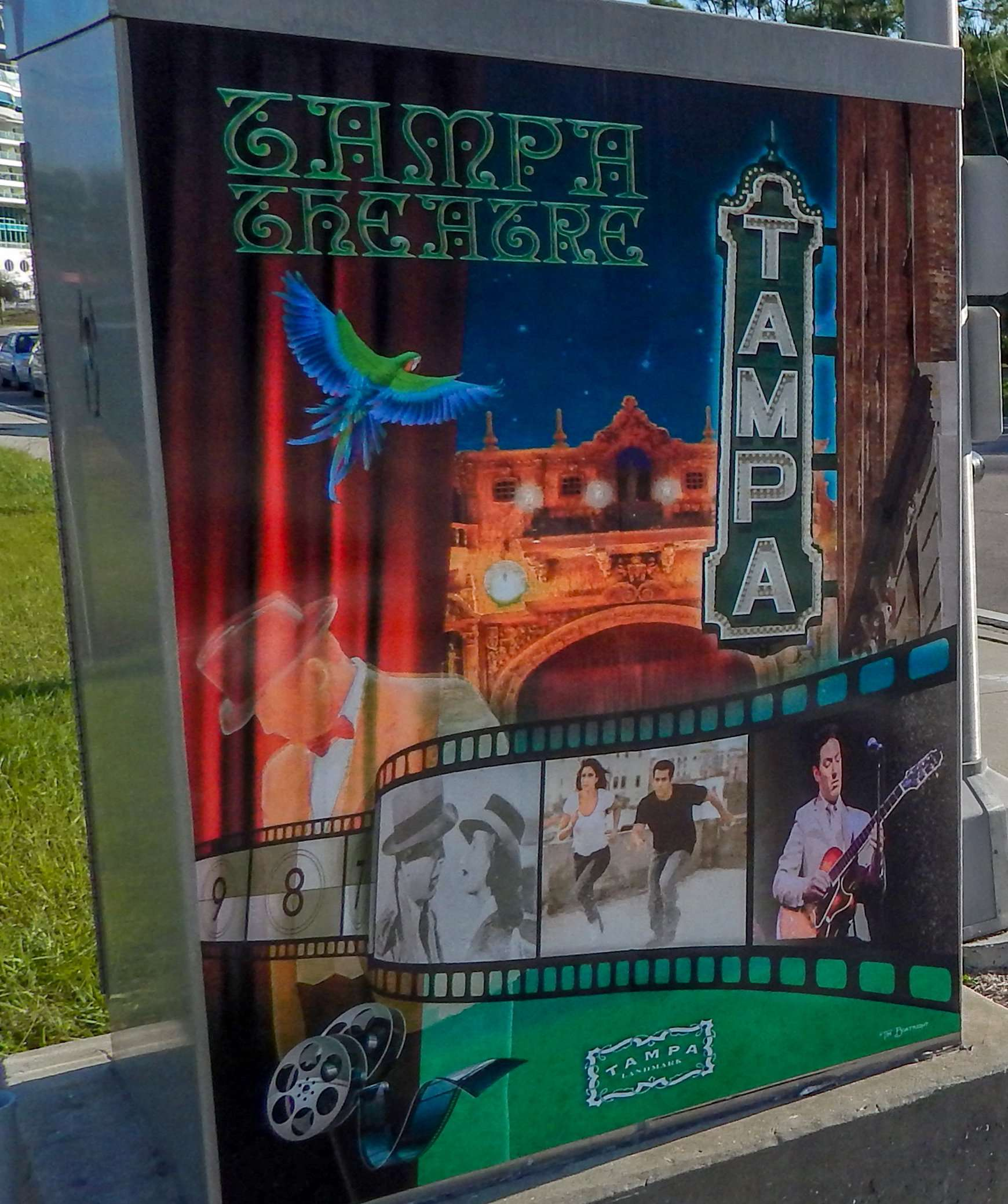 DEC 20, 2015 - Tampa Theaterart decal on electric box on Channesidel Drive in Tampa FL/photonews247.com