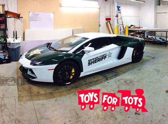 Broward County Sheriff sports car for Toys For Tots Car Rally 2014