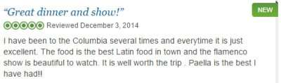 Columbia Restaurant five star review at location on 7th Ave Tampa FL