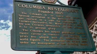 Columbia Restaurant street sign reads, 'Since 1905' with some history notes on sidewalk in Ybor City/Photo News 247