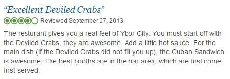 Devil Crab reviews for Carmines Restaurant in Ybor City
