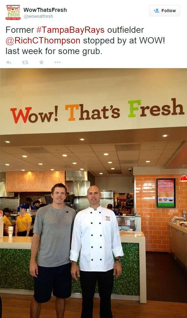 Former Tampa Bay Rays outfielder Rich C Thompson eats at WOW Thats Fresh in Brandon, FL