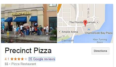 Google Directions Precinct Pizza Channel District, Tampa, FL/2014 Google