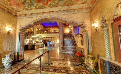 Hallway that opens up to the lobby at Tampa Theatre/Image Capture 2014 copyright Google