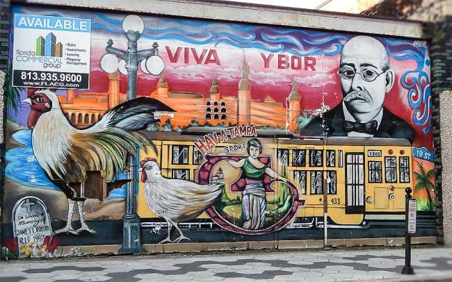 NOV 8, 2015 - Mural on 7th Ave named Viva Ybor in Ybor City Tampa, FL/photonews247.com