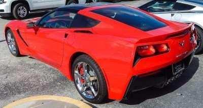 Rear view of red 2015 Chevrolet Corvette Stingray Coupe 3LT