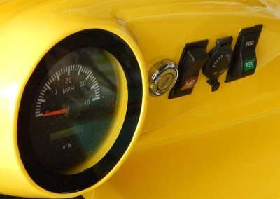 Speedometer, milage, reverse and forward switch on dashboard of Roadster golf cart by STARev/photonews247.com