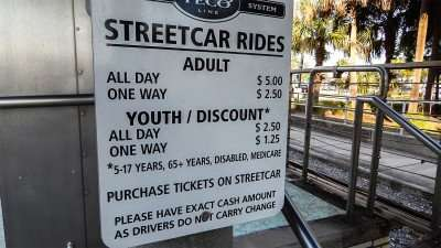 Street Car Prices on sign on Boarding platform in the Channel District in Tampa, FL./photonews247.com