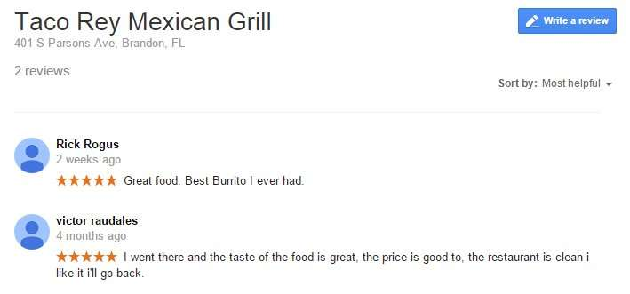 Taco Rey Mexican Grille get 5 stars from Google reviews Brandon, FL