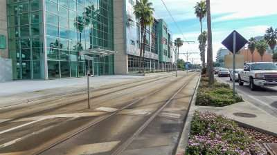 Tampa Port Authorit with Streetcar tracks in front of building in Channel District, Tampa, FL/photonews247.com