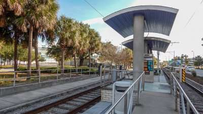 Trolley Car boarding station on Channelside Dr, Tampa, FL./photonews247.com