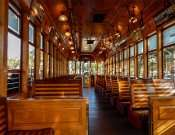 All wooden bench seating in classic cable street cars in Tampa, FL/2015 photonews247.com