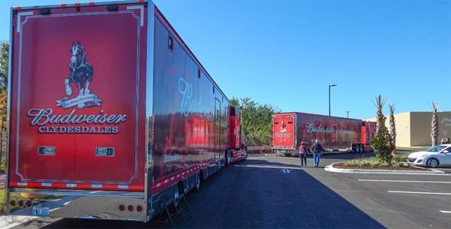 Budweiser Clydesdales Tractor Trailers parked at Grand Opening Day Walmart Neighborhood Market, Riverview, FL/2015 photonews247.com