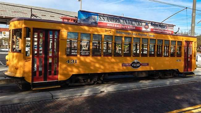 Classic Cable Car 431 parked at Centenial Park in Ybor City, Tamp, FL
