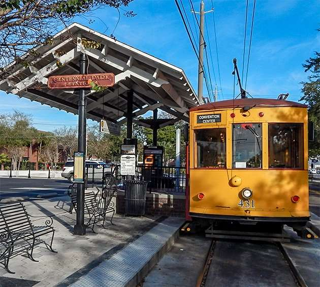 Front of cablecar 431 at Centenial Park Station at 20th and 8th Avenue, Ybor City, Tamp, FL