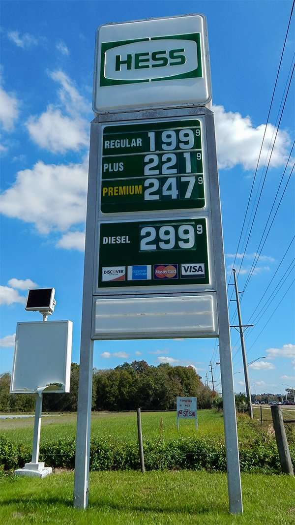 Average gallon of regualr gas was $1.99 per gallon at HESS Gas Sation on Gollege Ave in in Ruskin Jan. 21 2015/photonews247.com
