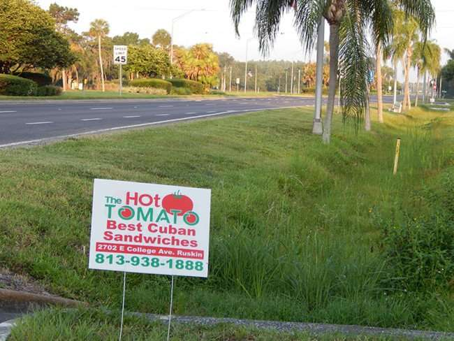 MAY 24, 2015 - temp road sign on 674, The Hot Tomato - Best Cuban Sandwiches, Ruskin, FL (813) 938-1888