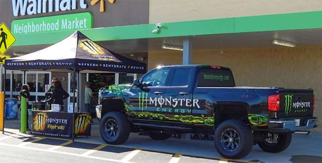 Monster Energy Drink tent and truck at Grand Opening Day Walmart Neighborhood Market, Riverview, FL