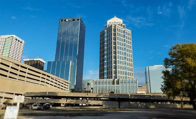 NOV 8, 2015 - One Tampa City Center building labeled PNC at the top next to SunTrust Building Financial Centre in Tampa, FL/photonews247.com