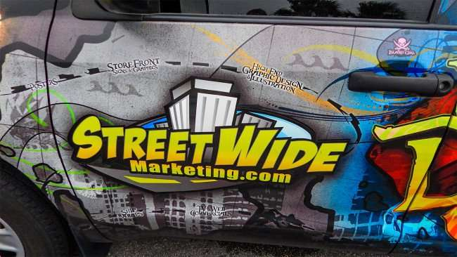StreetWideMarketing.com for peel on graphics that last up to four hours in outside conditions.