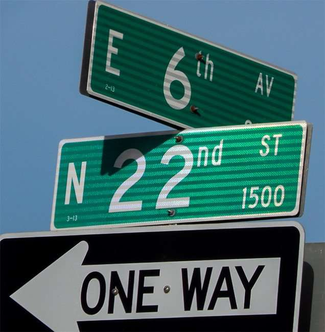 Sign - East 6th Avenue and North 22nd St One Way, Ybor City