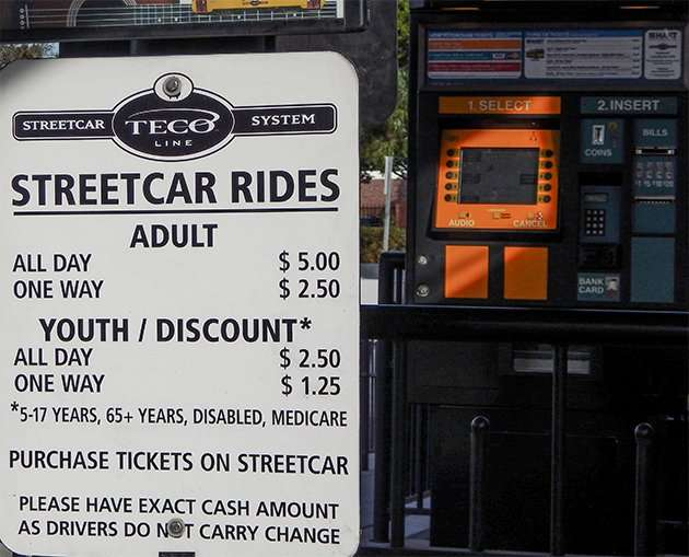 Streetcar Teco System adult can ride all day for 5 dollars