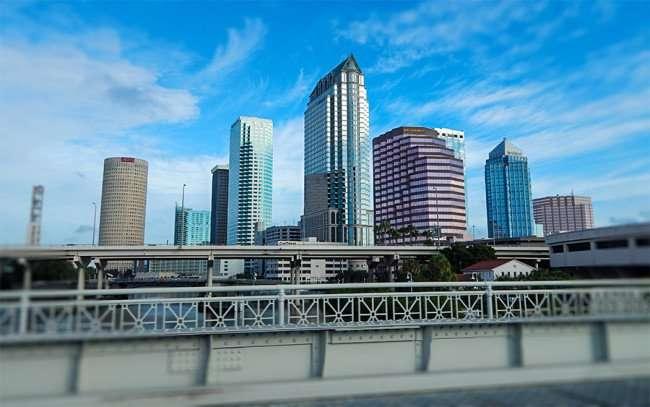 NOV 8, 2015 - Tallest building in middel is Regions 100 North Tampa from Platt St-Channelside Dr Bridge, Downtown Tampa, FL/photonews247.com