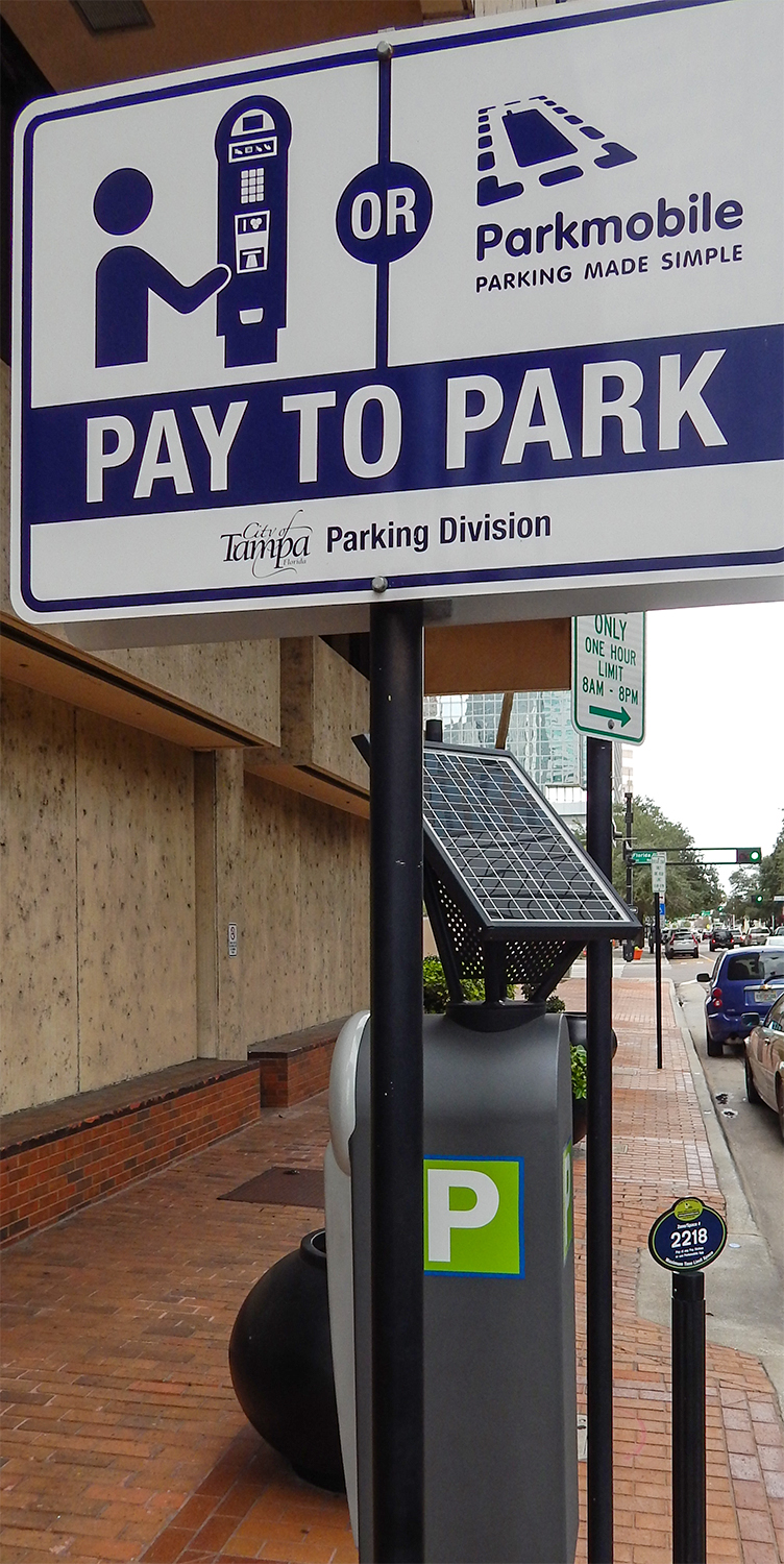 Tampa Parking Division parking meters in Downtown Tampa, FL