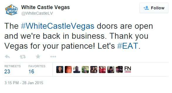 White Castle Vegas tweet doors are open and were back in business