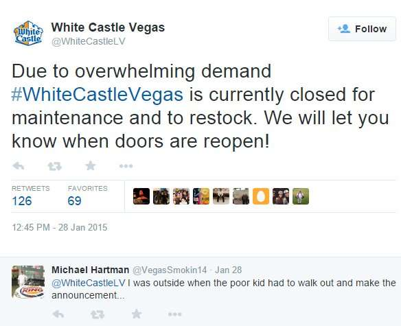 White Castle in Las Vegas closed due to overwhelming demand and to restock